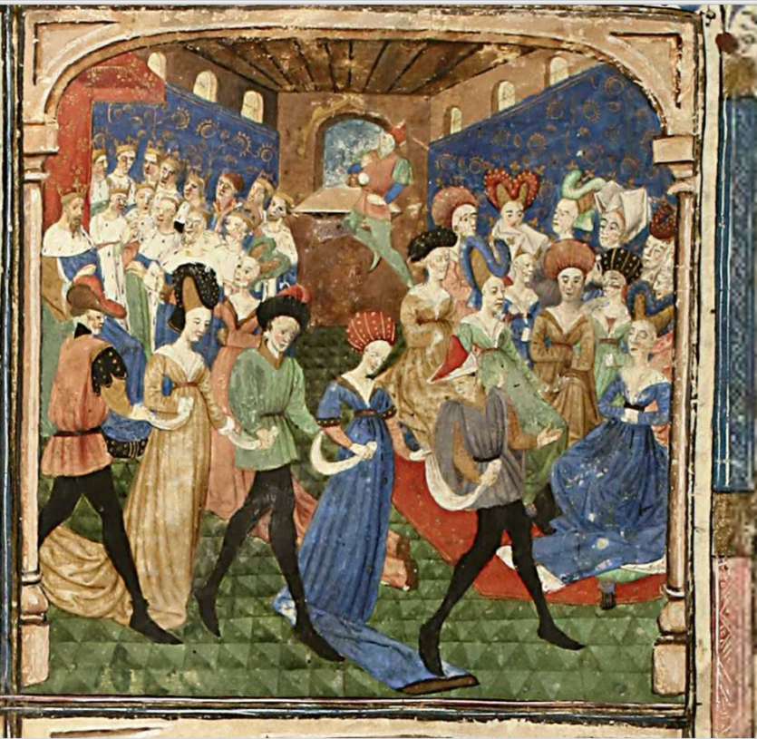 Dancing at Camelot, 1450-1460, Tristan in prose, Ms 527, folio 1, Bibliothèque Municipale de Dijon